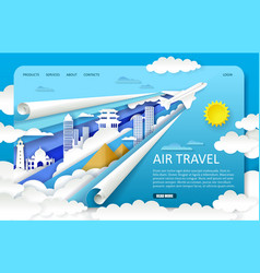 paper cut air travel landing page website vector image