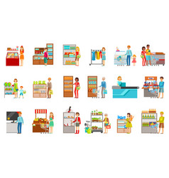 People shopping in department store set of vector