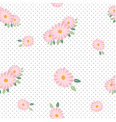 pink daisy spring seamless pattern vector image