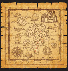 pirate treasure map skull island sketch vector image