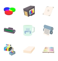 Printer icons set cartoon style vector