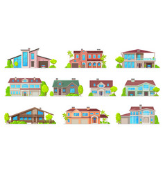 real estate house icons isolated home buildings vector image