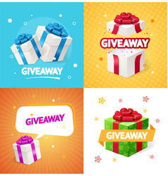 realistic detailed 3d present box giveaway concept vector image