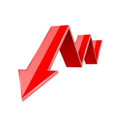 red down arrow financial statistic 3d symbol vector image