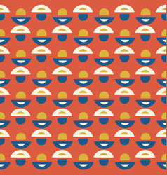 retro daisy floral pattern orange and blue vector image