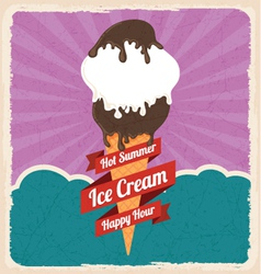 Retro ice cream poster vector image
