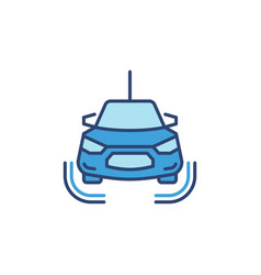 self driving car concept blue icon - front vector image