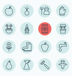 Set of 16 plant icons includes protection mitt vector