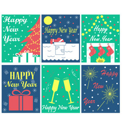 set of 6 greeting cards for new year vector image