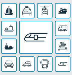 shipping icons set collection of taxi tanker vector image