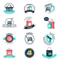 shopping and market logos vector image