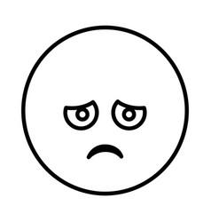 Silhouette emoticon face sad expression vector