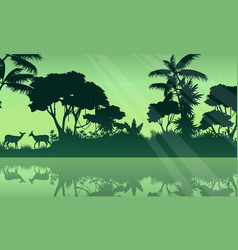 Silhouette jungle and lake scenery vector