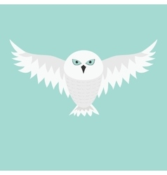 Snowy white owl Flying bird with big wings Blue vector image