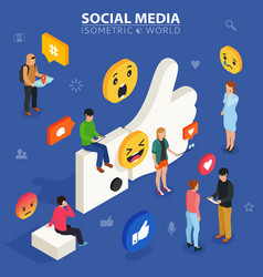 Social media isometric concept young people vector