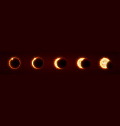 sun eclipse total and partial solar eclipse vector image