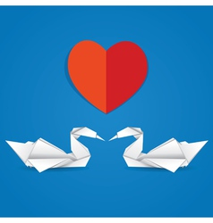 Swans and red heart vector