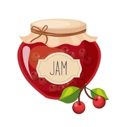 Sweet Cherry Red Jam Glass Jar Filled With Berry vector image