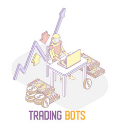 Trading bots concept isometric vector