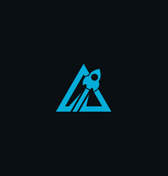 triangle rocket geometric flat blue vector image