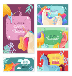 unicorn magic cards vector image