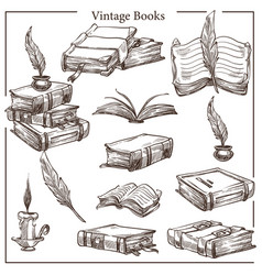vintage books isolated sketches feather and ink vector image