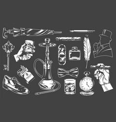 vintage gentleman elements collection vector image