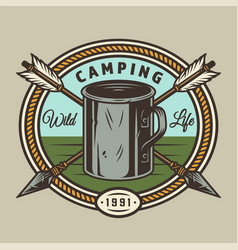 Vintage summer camping round print vector