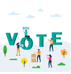voting and election concept voting box and voters vector image
