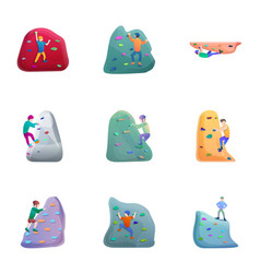 wall climbing icon set cartoon style vector image