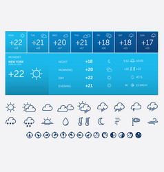 Weather icons and widget vector