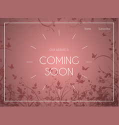 Website landing page with floral design vector