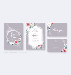 wedding invitation card save date rsvp set vector image