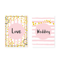 wedding invitation set with dots and sequins vector image