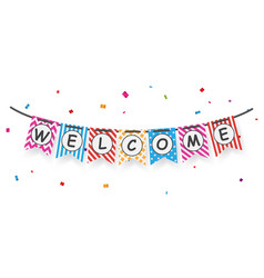 welcome sign with confetti vector image