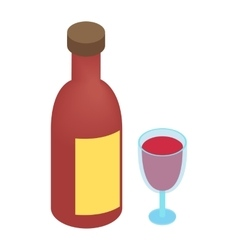 Wine bottle and glass isometric 3d vector image