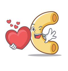 With heart macaroni mascot cartoon style vector