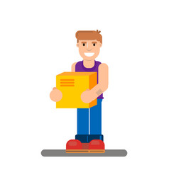 Young man walking with retail box vector