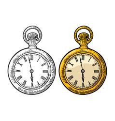 antique pocket watch vintage engraved on vector image