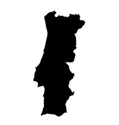 black silhouette country borders map of portugal vector image