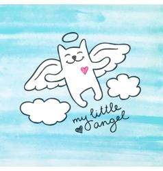 hand drawn cat angel vector image vector image