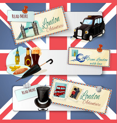 London Touristic Banner Set vector image