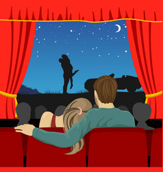 lovers watching romantic movie in cinema theater vector image