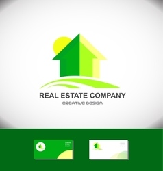 Real estate green house home logo icon vector image vector image