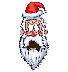 Santa claus frightened head vector