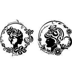 Vignette retro female profile vector image