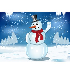 smiling snowman with red scarf and snowball vector image vector image