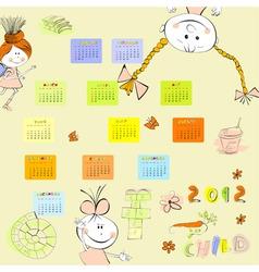 cartoon style calendar 2012 vector image vector image