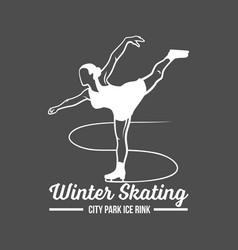 ice skating label logo vector image vector image