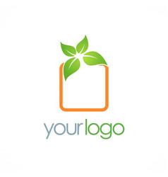 Square green leaf logo vector